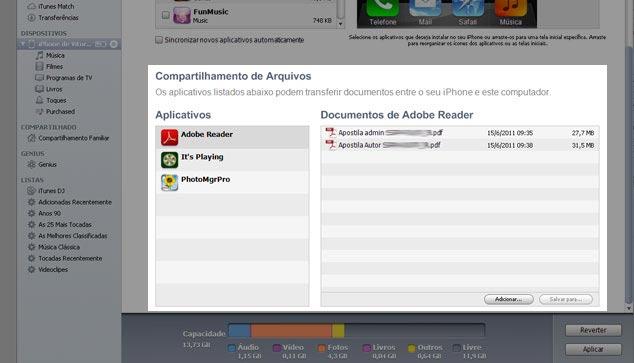Apps no iTunes gerenciar aplicativos