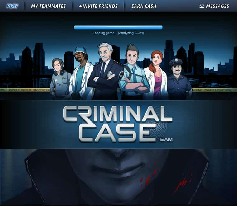 Aplicativo Criminal Case de Web para Facebook