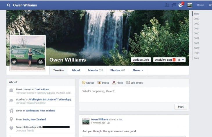 Nova Timeline do Facebook está a ser lançada na Nova Zelândia