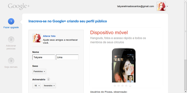 Perfil no Google Plus