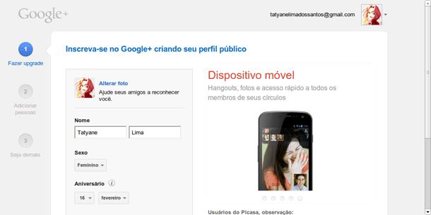 Perfil no Google Plus