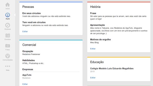 Perfil no Google Plus editar informações
