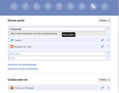 Perfil no Google Plus adicionar redes sociais