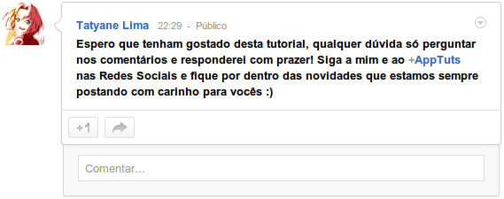 Perfil no Google Plus postar status