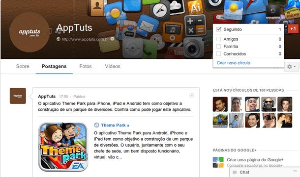 Perfil no Google Plus foto de capa
