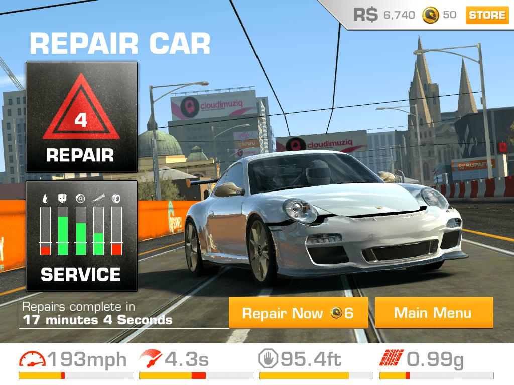 reparar carro no aplicativo para iphone Real Racing 3