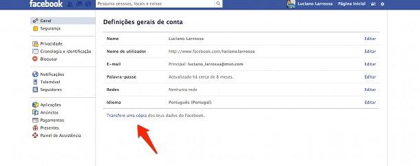 conta no Facebook dados