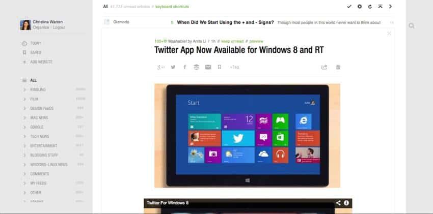 feedly aplicativo que pode substituir o Google Reader