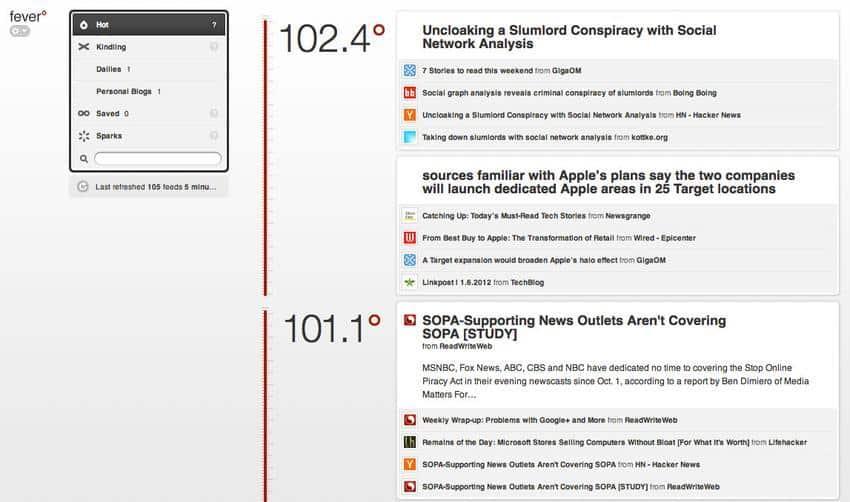 fever aplicativo que pode substituir o google reader