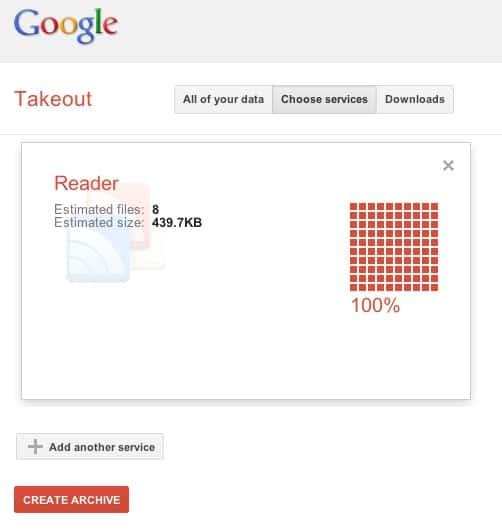 Google Reader - exportação com Google Takeout 01