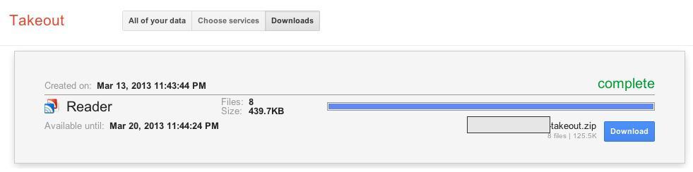 Google Reader - exportação com Google Takeout 02