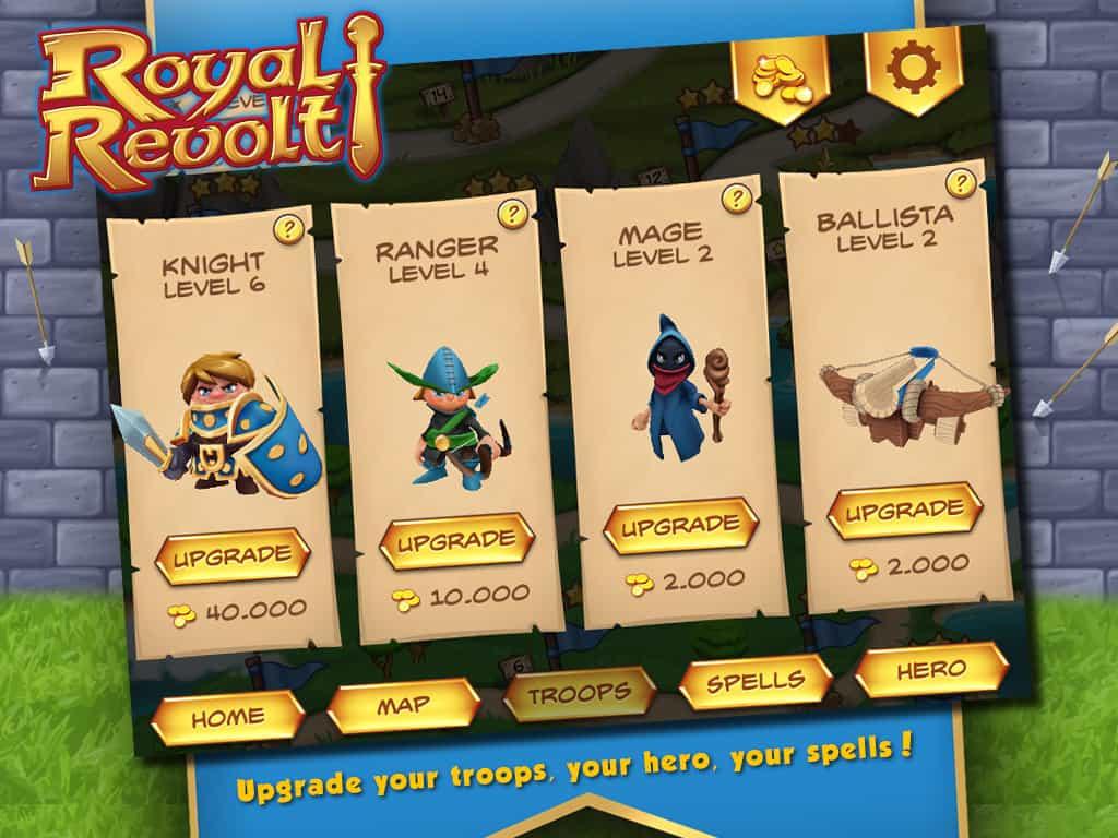 melhoramento das personagens do aplicativo para iphone royal revolt