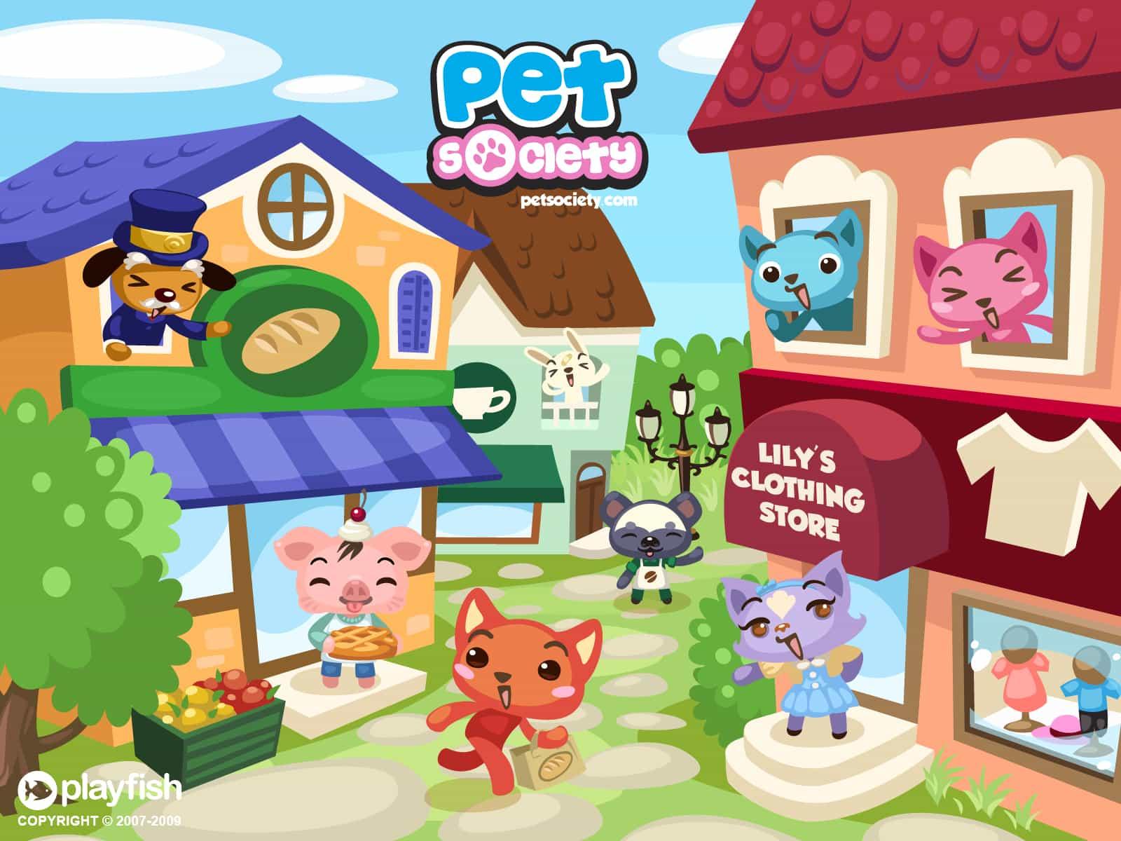 pet society exterior do aplicativo para web