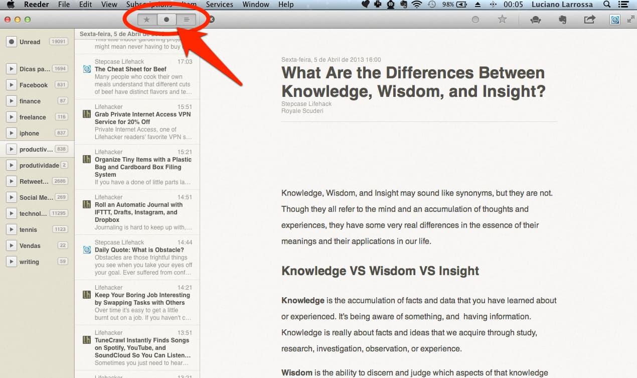 Como usar o Reeder no Mac