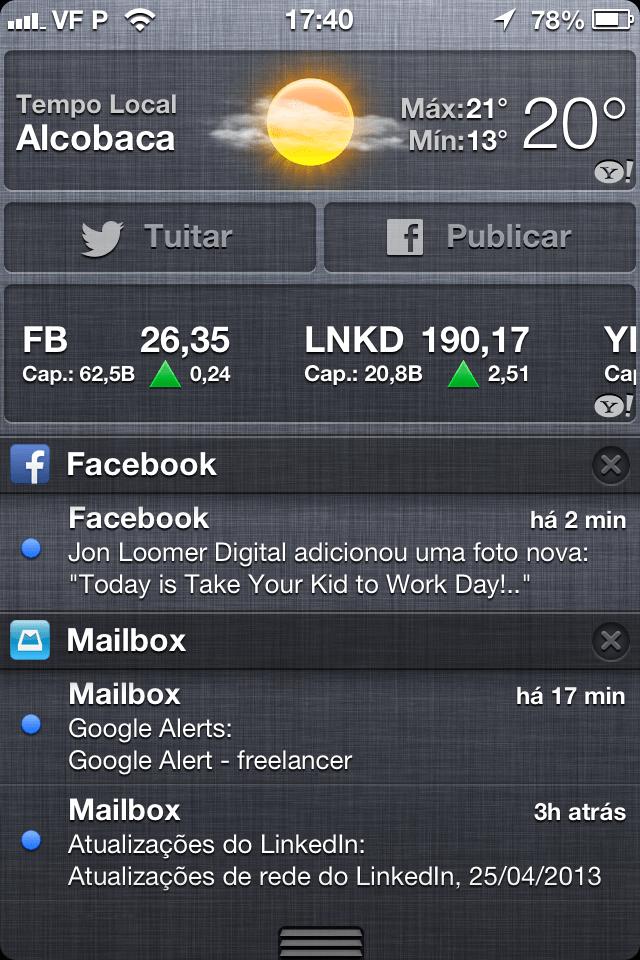 central de notificações do iPhone
