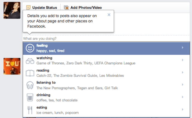 o facebook permite que o usuário partilhe o que está a ouvir, ler, comer e até beber