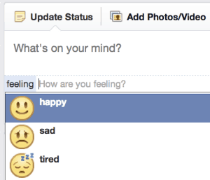 nova opção do Facebook: emoticons