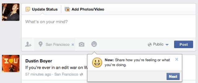 o facebook permite que o usuário partilhe como se está a sentir