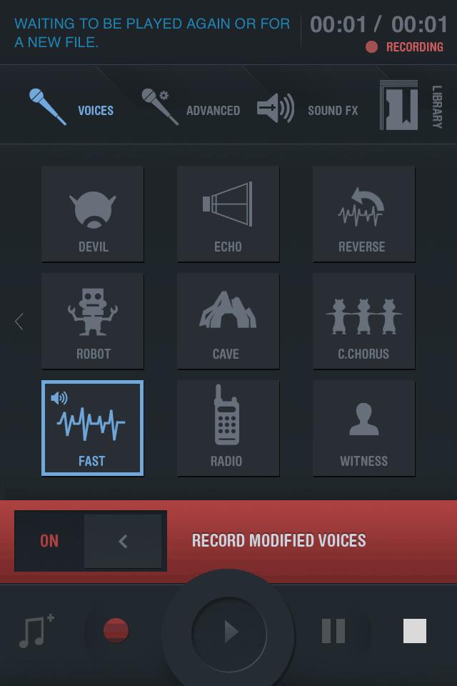 aplicativo V Changing - Transformador de voz para iphone