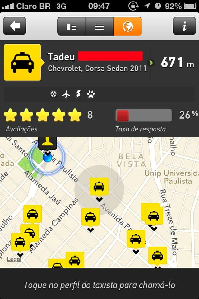 Taxibeat - detalhes no mapa