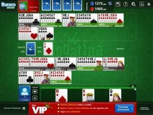 Buraco Jogatina - jogando com um jogador virtual no iPad