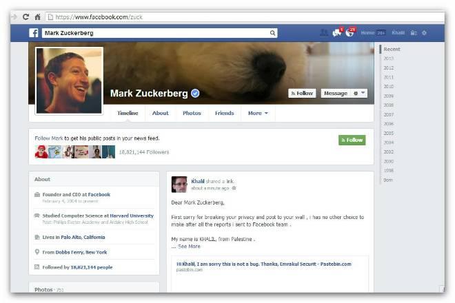 Perfil de Zuckerberg é invadido