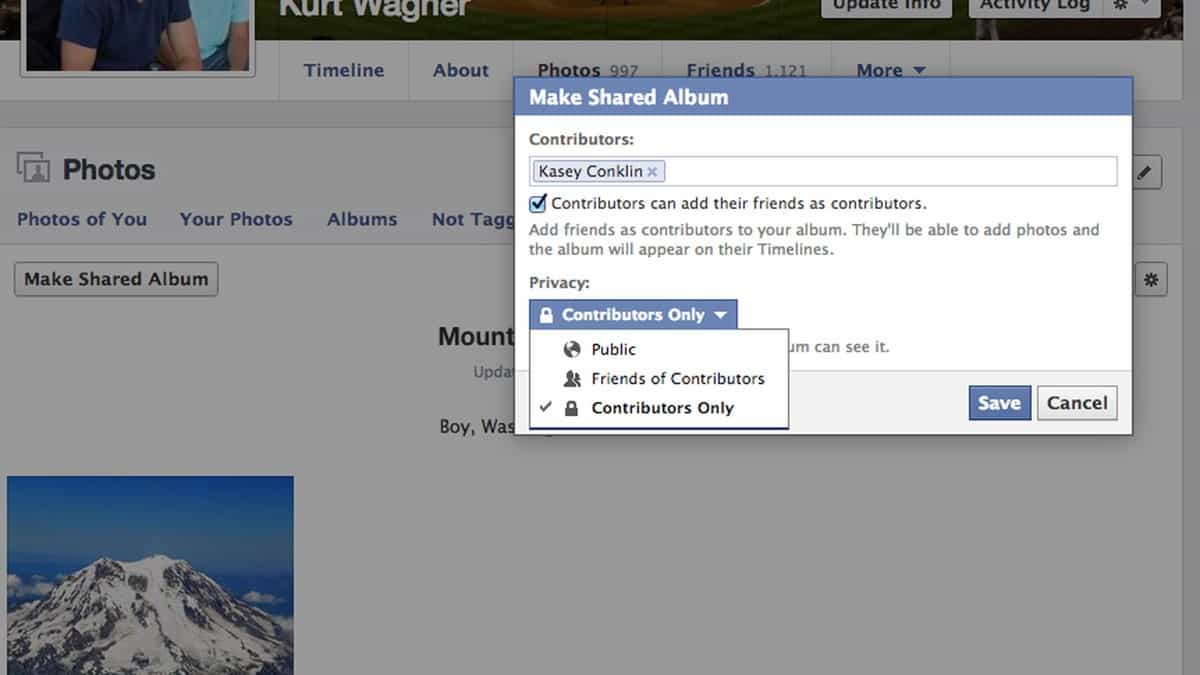 álbum de compartilhamento no facebook configurações