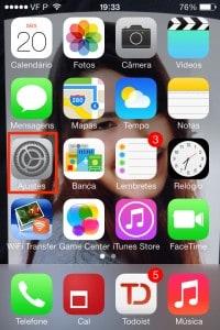 ajuste no iOS 7