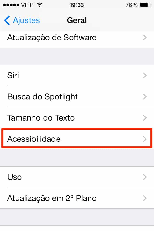 iOS 7 acessibilidade