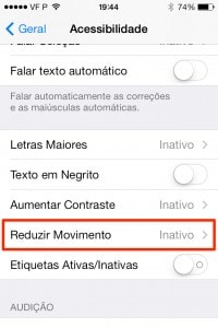 como reduzir o movimento no iPhone
