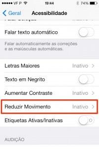 como reduzir o movimento no iPhone
