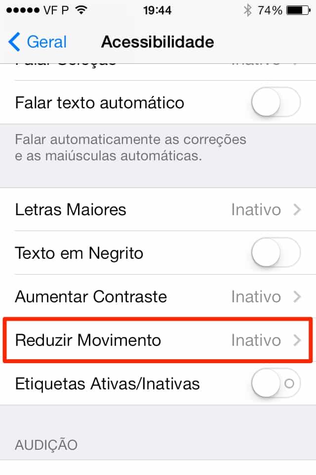 iOS 7 como reduzir o movimento no iPhone