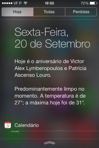 resumo do dia no iOS 7