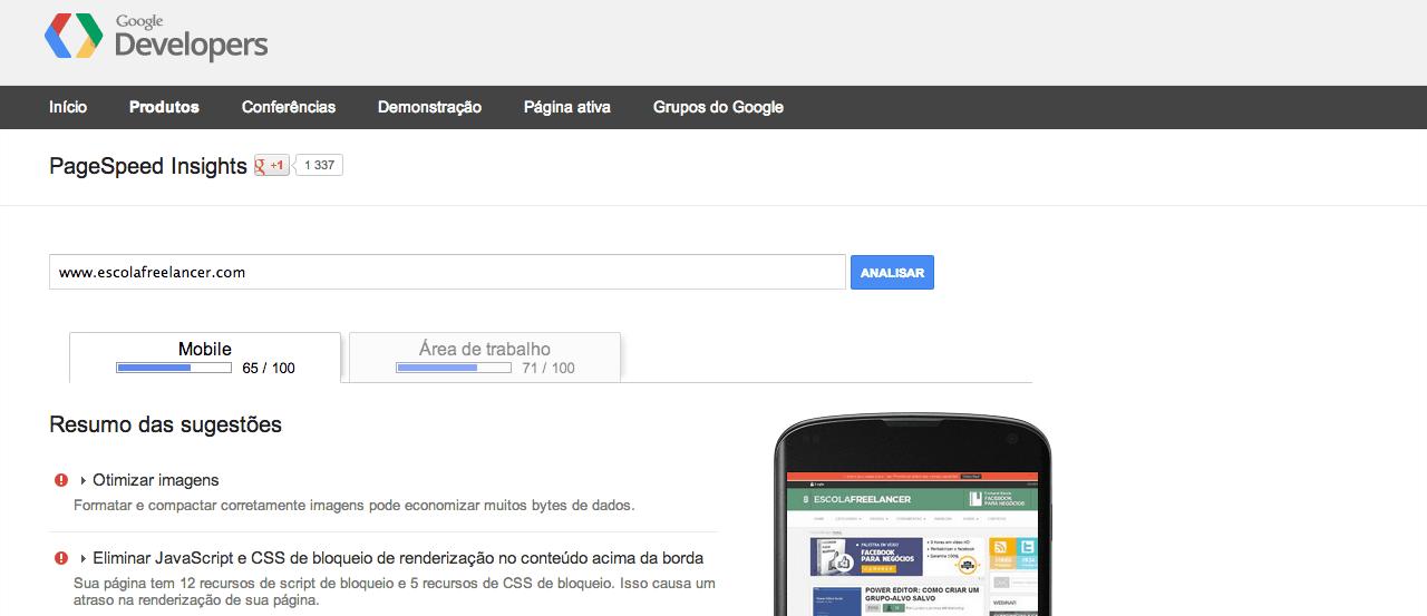 verificar a velocidade PageSpeed Insights