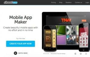 criar aplicativos móveis ShoutEm