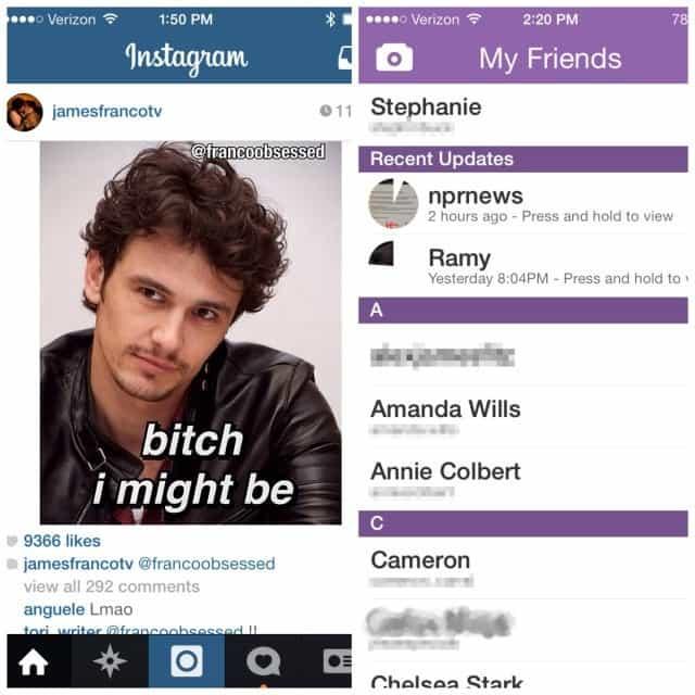 Instagram vs Snapchat feed de notícias