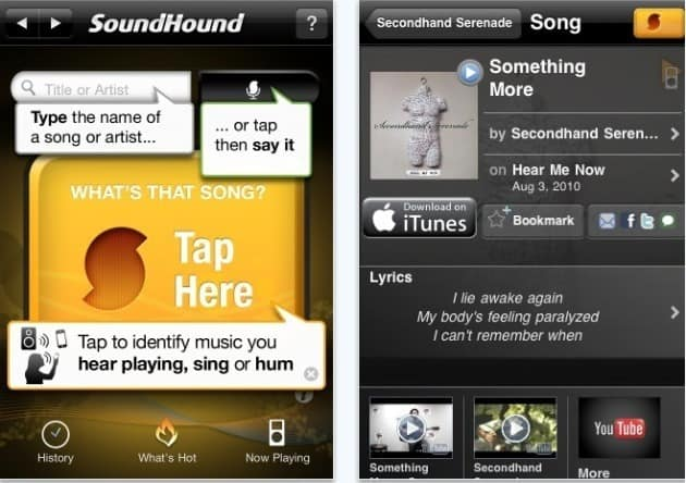 aplicativos de música para o iPhone soundhound