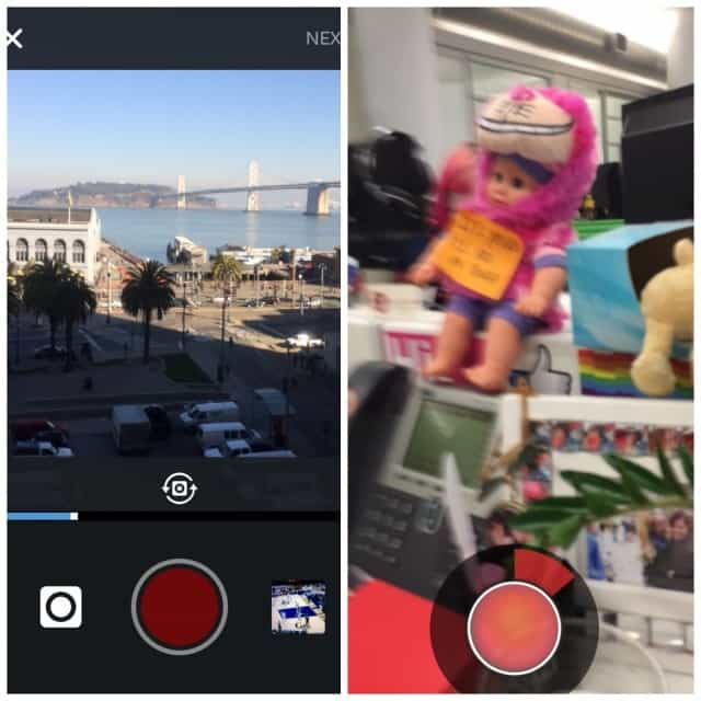 Instagram vs Snapchat gravando um vídeo