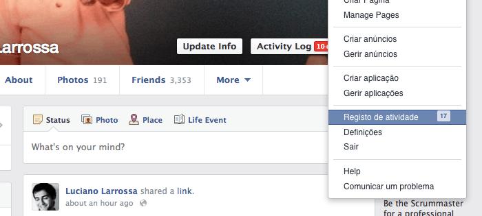 histórico de pesquisa do Facebook