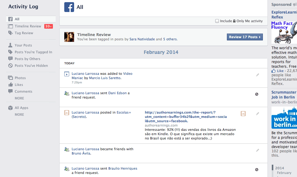 histórico de pesquisa do Facebook Search no Facebook