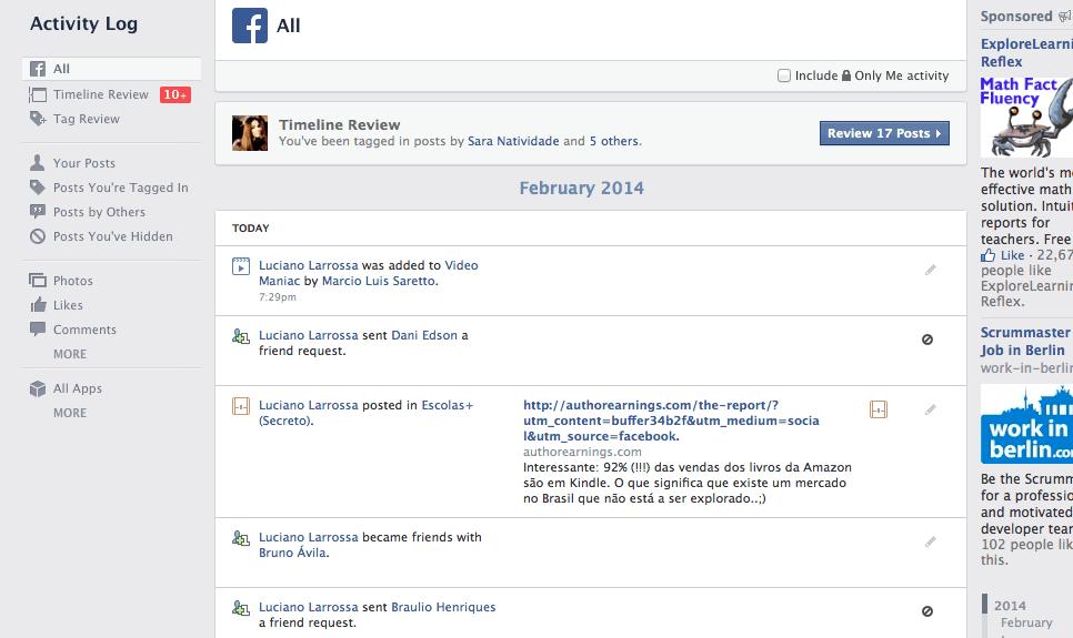 histórico de pesquisa do Facebook Search no Facebook