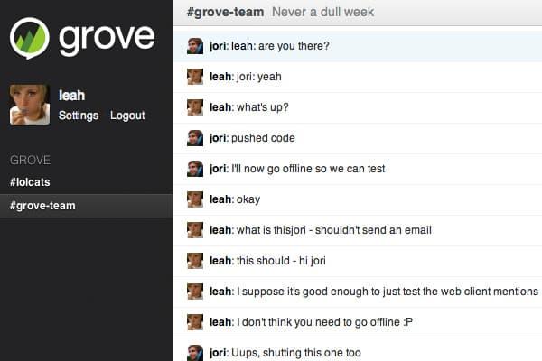 Grove para comunicar em equipe