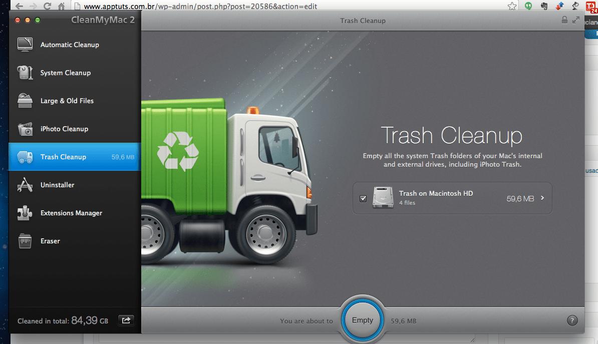 apagar o lixo com o Clean My Mac