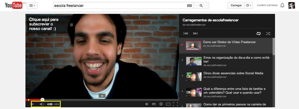 Atalhos no youtube