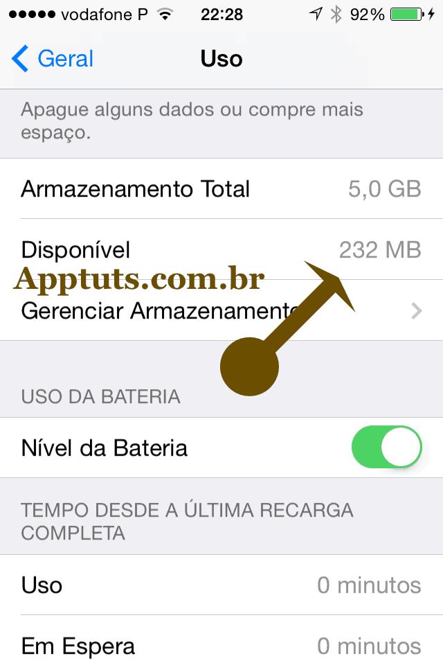 Espaço ocupado no iPhone