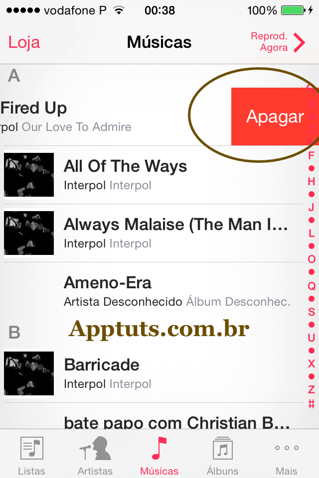 apagar uma música no iPhone