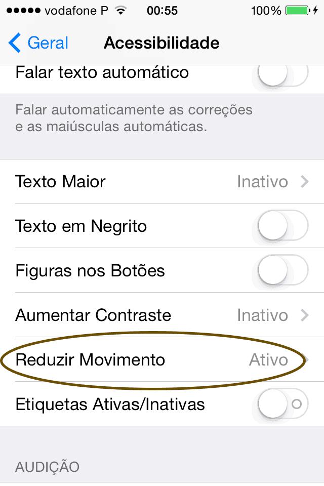 reduzir movimento no iPhone
