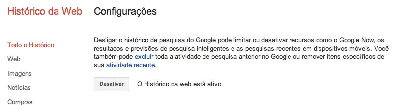 apagar pesquisa do Google para sempre