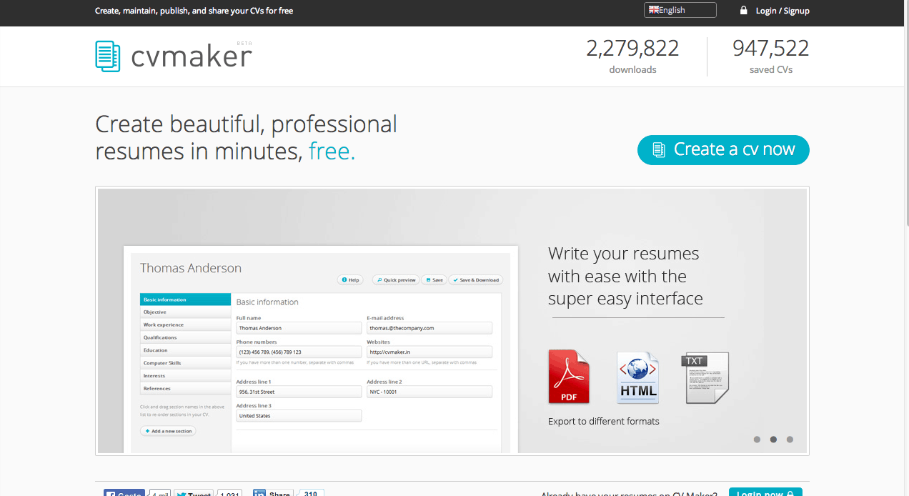 criar currículos CV Maker