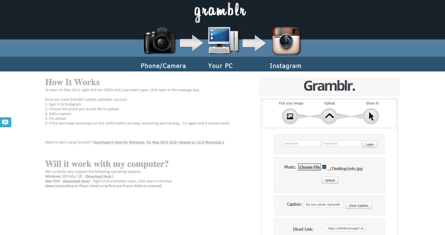 Instagram no PC gramblr